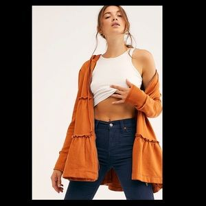 Free People Burnt Orange Babydoll Jacket